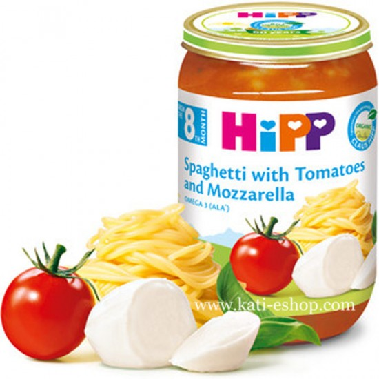 HiPP БИО Спагети с домати и моцарела 8м. 220г