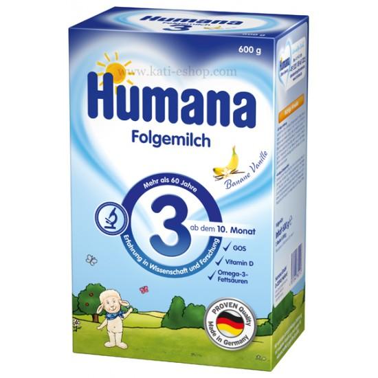 HUMANA 3 Мляко за последващо хранене 10-12м. 600г