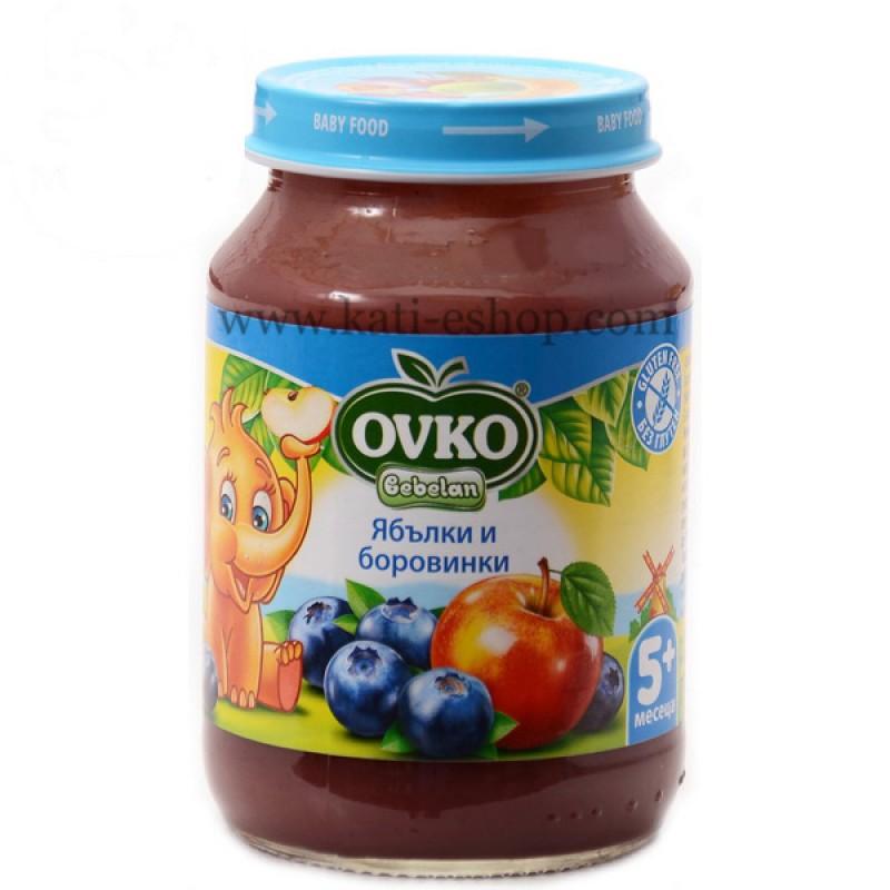 OVKO Пюре от ябълки и боровинки 5м. 190м