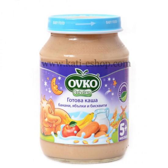 OVKO Млечна каша  банани, ябълки и бисквити от  5м. 190г