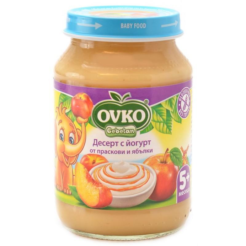 OVKO Десерт с йогурт праскови и ябълки  5м. 190г