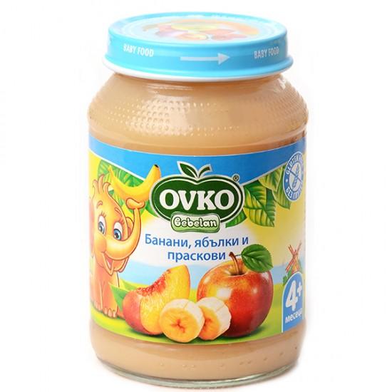OVKO Банани с ябълки и праскови 4м. 190г