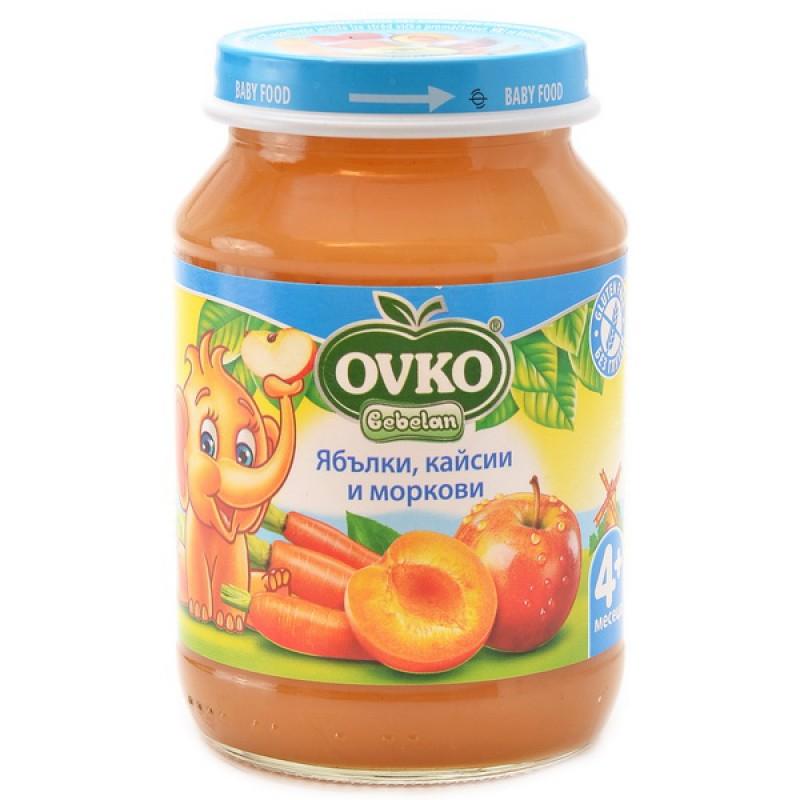 OVKO Ябълки, кайсии и моркови 4м. 190г
