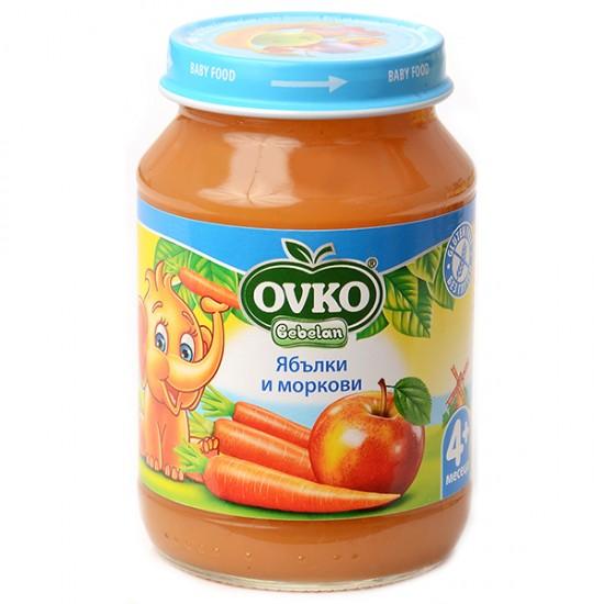 OVKO Пюре от ябълки и моркови  4м. 190г