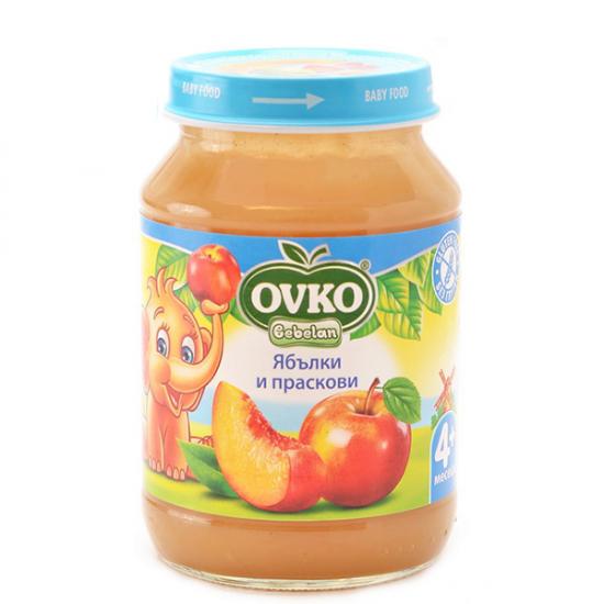 OVKO Пюре от ябълки и праскови 4м. 190г