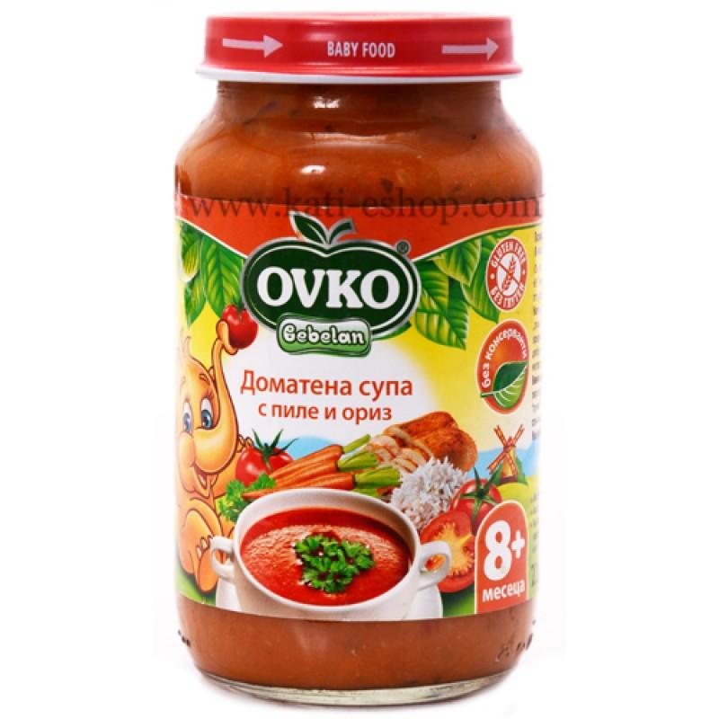 OVKO Доматена супа с пиле и ориз 8м. 220г